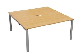 Kestral 2 Person Bench Desk - 1200mm Beech Silver