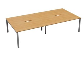 Kestral 4 Person Bench Desk - 1200mm Beech Silver