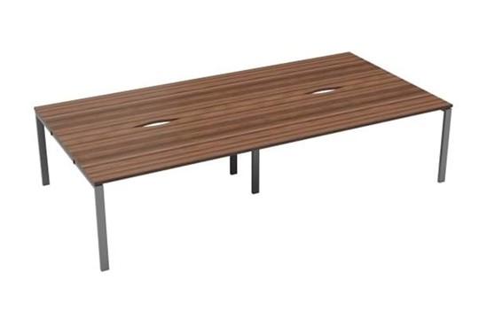 Kestral Dark Walnut  4 Person Double Bench Desk