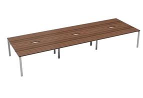 Kestral Dark Walnut 6 Person Double Bench Desk