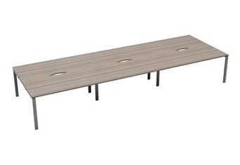 Kestral Grey Oak 6 Person Bench Desk - 1200mm Silver