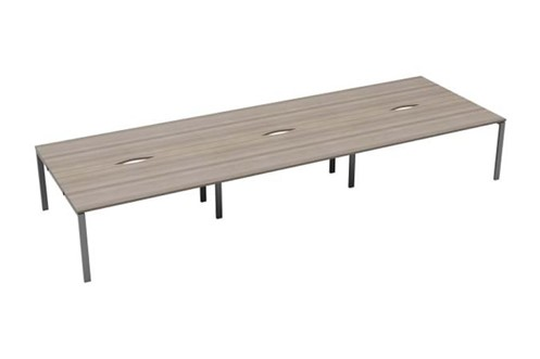 Kestral Grey Oak 6 Person Double Bench Desk