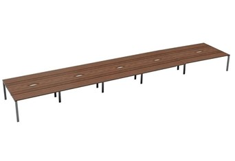 Kestral Dark Walnut 10 Person Bench Desk - 1200mm Silver