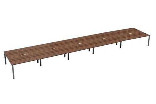 Kestral Dark Walnut 10 Person Double Bench Desk