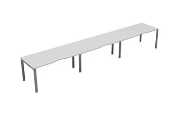 Kestral White Single 3 Person Bench Desk - 1200mm Silver