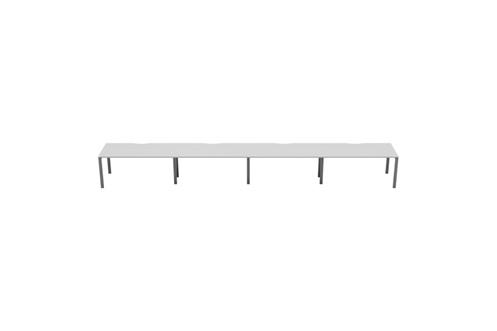 Kestral White 4 Person Single Bench Desk