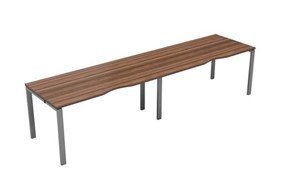 Kestral Dark Walnut Single 2 Person Bench Desk - 1200mm Silver
