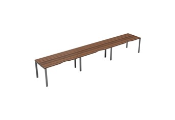 Kestral Dark Walnut Single 3 Person Bench Desk - 1200mm Silver