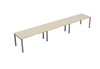 Kestral Maple Single 3 Person Bench Desk - 1200mm Silver
