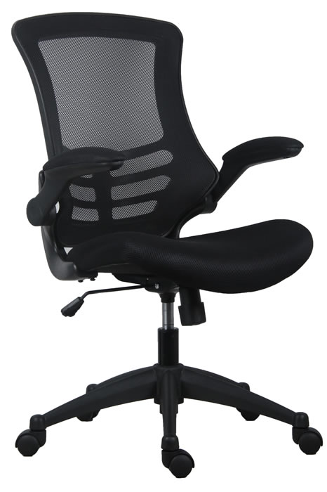 Mesh Back Office Chair Folding Arms 5 Colours Height Adjustable Alabama