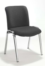 Pavilion Chrome Visitors Chair - Black