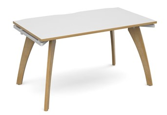 Fuze Single Bench Desk - 1200 x 800 x 725mm White / Oak Edge No Cable Management
