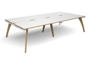 Fuze Double Back To Back Desk - 2400mm x 1600mm x 725mm White / Oak Edge No Cable Management