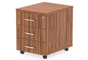 Nova Walnut 3 Drawer Mobile Pedestal