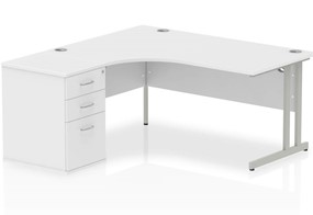 Polar White Corner Cantilever Workstation