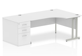 Polar White Corner Cantilever Workstation - Left Handed 1600mm