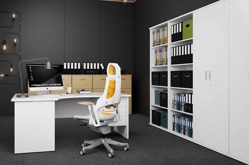 Polar White Corner Cantilever Workstation