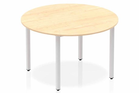 Solar Circle Table 1200 Maple Post Leg Silver