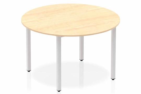 Solar Circle Table 1200 Maple Post Leg Silver