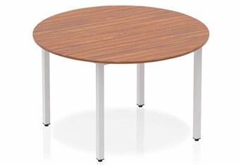 Nova Walnut Circle Table 1200 Post Leg Silver