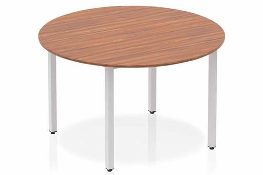 Nova Walnut Circle Table 1200 Post Leg Silver