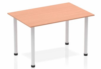 Price Point Straight Table Beech Post Leg Silver - 1200mm
