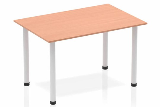 Price Point Straight Table Beech Post Leg Silver