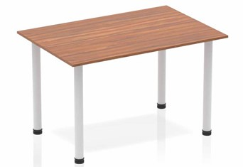 Nova Straight Table Walnut Post Leg Silver - 1200mm