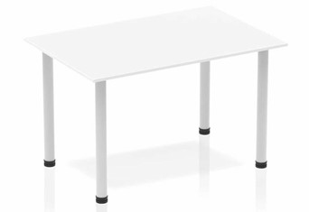 Polar White Straight Table Post Leg Silver - 1200mm