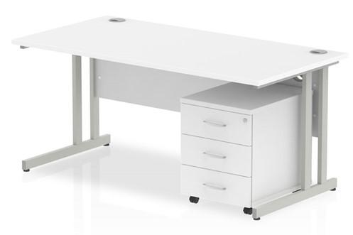 Polar Straight Desk And Pedestal