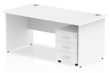 Polar Straight Panel Desk And Pedestal