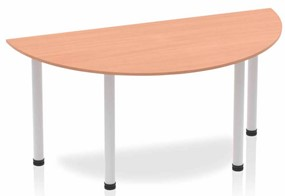 Price Point Beech  Semi-circle Table 1600 Post Leg Silver