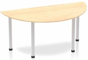 Solar Maple Semi-circle Table 1600 Post Leg Silver