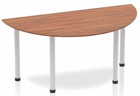 Nova Walnut Semi-circle Table 1600 Beech Post Leg Silver