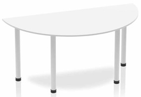Polar White Semi-circle Table 1600 Post Leg