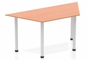 Price Point Beech Trapezium Table 1600 Post Leg Silver