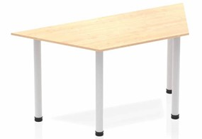 Solar Maple Trapezium Table 1600 Post Leg Silver