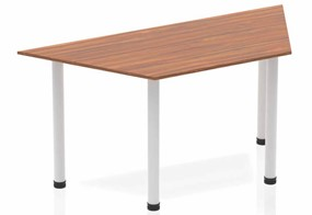Nova Walnut Trapezium Table 1600 Walnut Post Leg Silver
