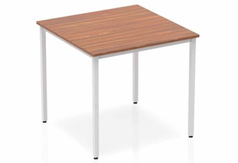 Nova Walnut Straight Table Box Frame Leg Silver - 800mm