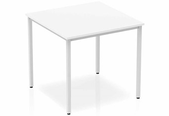 Polar White Straight Table Box Frame Leg Silver - 800mm