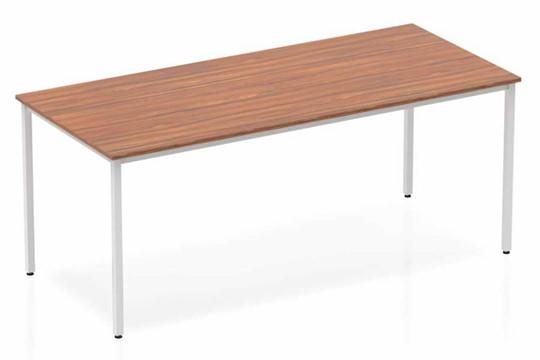 Nova Walnut Straight Table Box Frame Leg Silver