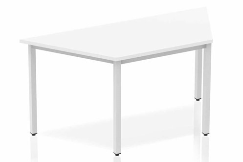Polar White Trapezium Table 1600 Box Frame Leg Silver