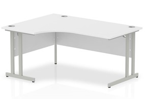 Polar White Cantilever Corner Desk - 1600mm x 1200 Left Handed Crescent