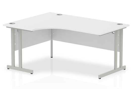 Polar White Cantilever Corner Desk