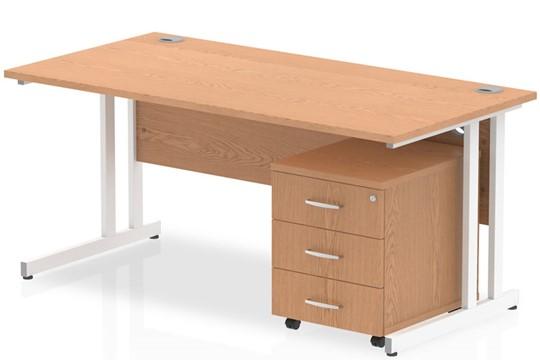 Norton Oak Straight Desk And Pedestal