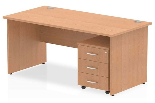 Norton Oak Panel Desk And Pedestal