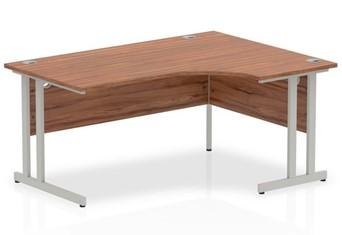 Nova Walnut Cantilever Corner Desk - 1600mm Wide Right Handed Crescent