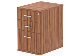 Nova Walnut 3 Drawer Desk High Pedestal
