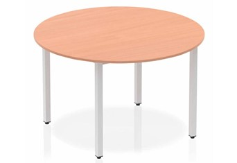 Price Point Beech Circle Table 1200 Box Frame Leg Silver