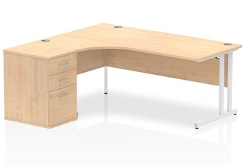 Solar Maple Corner Cantilever Workstation - Left handed 1600mm Wide